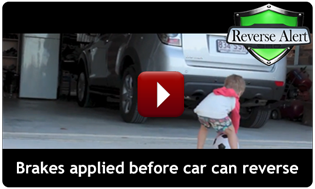 Reverse Alert automatic braking protecting a child while car reverses